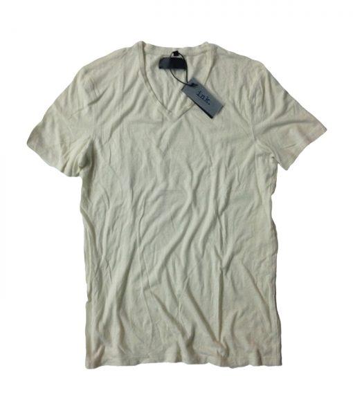 Rodin travertine chalk crew neck cotton & linen t shirt