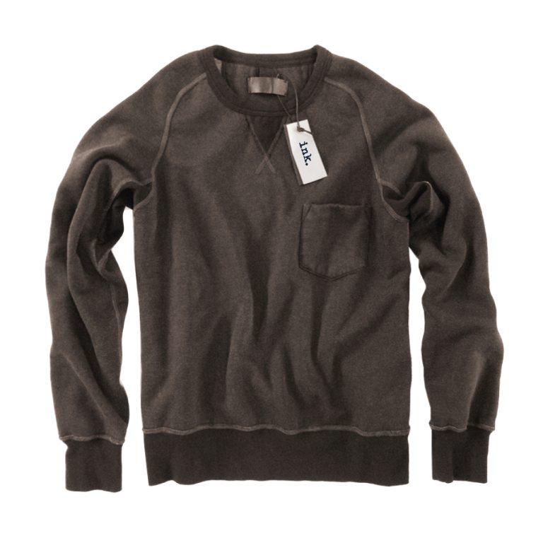 Pollock chocolate crew neck sweater with pocket