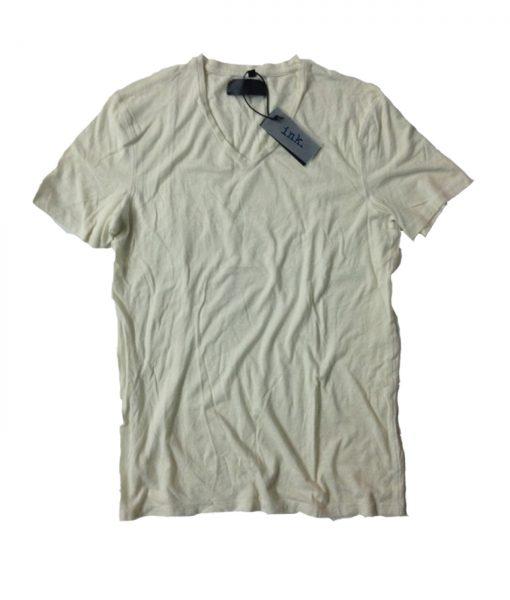 Rodin travertine chalk v neck linen t shirt