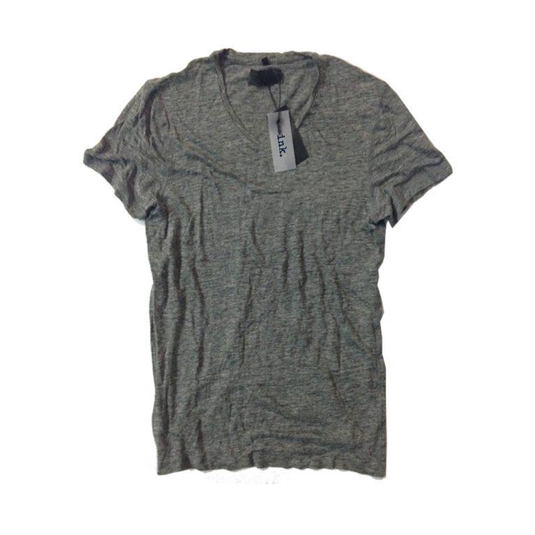 Rodin travertine grey v neck linen t shirt