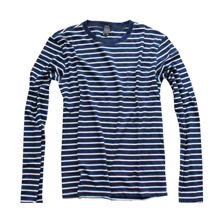 Warhol indigo paris vintage yarn dye stripe long sleeve t shirt